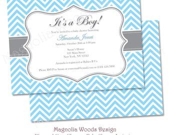 Baby Blue Chevron Baby Shower Invitation - Printable Digital File