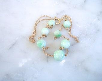 Jade & Gold Necklace -  10K Natural Floating Jade Necklace
