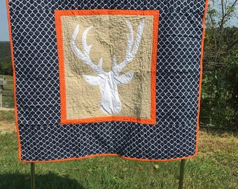 Baby boy quilt , Deer quilt, Woodland baby bedding, Baby boy crib bedding, Handmade quilt for sale, Woodland nursery decor, Woodland quilt