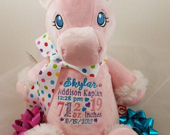 Personalized Baby Cubbie Unicorn, Soft Plush Stuffed Animal, Pink or White Unicorn, Birth Announcement Custom Embroidery Included