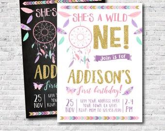 Wild Ein Mädchen Geburtstag Einladung, Traumfänger Ersten Geburtstags  Einladung, Boho Einladung,