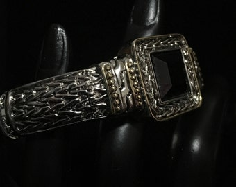 Vintage Two Toned Hinge Cuff with Beautiful Black Center  (ABX1H)