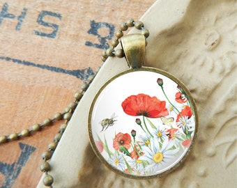 Red Poppy Pendant, Poppy Glass Necklace, Poppies and Daisy Pendant, Floral Necklace, Poppies and Bumble Bee Glass Pendant