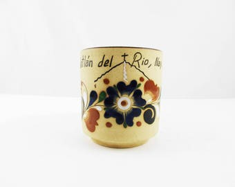 Souvenir Mug - 'Ixtlán del Río, Nav' - Mexico - Large 10 Ounce Cup - Mexican Pottery - Ceramic Coffee Cup - Deep Navy Blue, Brown, Marroon