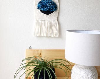 Hanging tapestry, blue and white art, unique birthday gift, modern wall hanging, woven tapestry, eye statement art, wall weaving funky weave