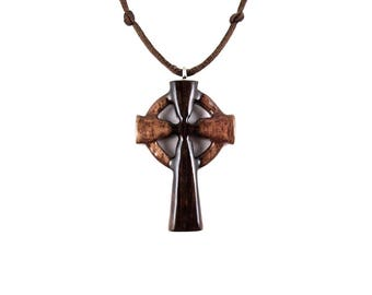 Celtic Cross Pendant, Celtic Cross Necklace, Wooden Cross Pendant, Wood Cross Necklace, Cross Necklace, Christian Jewelry, Celtic Jewelry