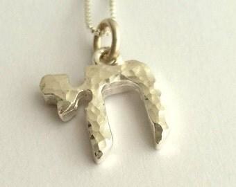 Chai Necklace - Tiny Chai Charm Necklace - Jewish Jewelry - Bat Mitzvah Gift - Jewish Necklace - Dainty Necklace - Minimalist Charm - Silver