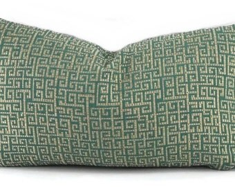 Teal Green Greek Key Throw Pillow Cover, Grecian Key, Accent Pillow, 11.5x20