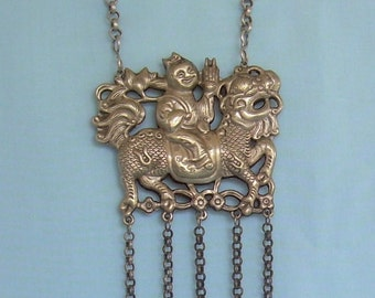QING DYNASTY QILIN Kirin Necklace-Vintage Antique Silver-Dragon Deer Fish Horse Foo Creature-Rolo Chain Chatelaine Weapons Charms 01039