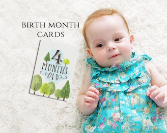 """Twelve Monthly Age Photo Prop Cards - 5x7"""" PRINTABLE - BONUS Milestone Cards - Birth Month - Woodland - Baby Announcement - First Year"""