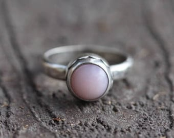 Natural Pink Opal Ring. Sterling Silver Ring. Opal Engagement Ring. Opal Jewelry. Opal Gemstone Ring. October Birthstone