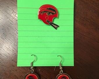 Vintage Early 1990s Buffalo Bills Enamel Dangling Earrings and Lapel Pin Set Football NFL Western New York WNY Sports