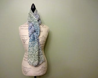 Hand Knit Women's Extra Long Light Blue, Medium Blue & Light Green Scarf, Soft Fluffy Chunky Knit, Warm Scarf, Hand Made Gift