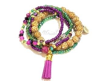 Purple, Green, Gold, Tassle Bracelet Set, Bracelet Stack, Mardi Gras, Boho, Stretchy, Fashion, Custom Handmade Beaded Jewelry