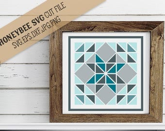 Winter Star Barn Quilt Farmhouse SVG Cut file and Printable