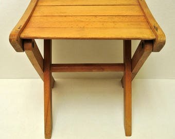 Vintage 1960s Wood Child's Folding Camping Stool Kid Furniture Rustic Home Decor