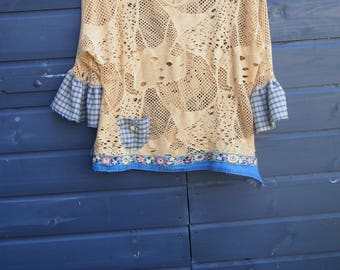 Up cycled Boho Top, Long sleeve Top, Open Top, Altered Top, Autumn Top, Feminine Top, Womens Clothing, Shirt, Cute Top,Altered Shirt, Size M