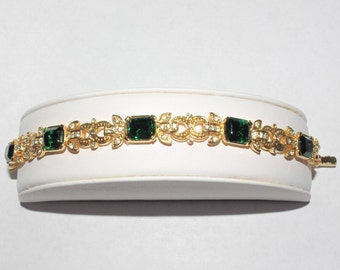 Joan Rivers Emerald Bracelet - Gold Tone with Crystals - S2257