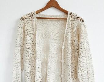 VTG Crochet Cardigan // Floral // Pattern // Bohemian // 90's //