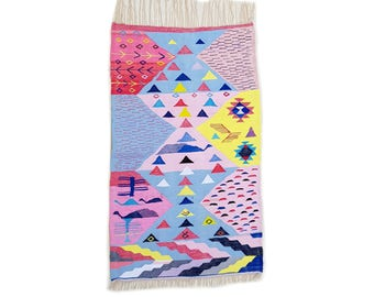 "75""X43"" Handwoven moroccan kilim rug, boucherouite rug, handmade rug, geometric pattern, colorful rug, chic ethnic, moroccan decor"