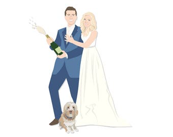 Custom Couple Portrait Artwork - Wedding Portrait Artwork - Illustrated Wedding Portrait