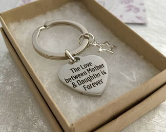 Mum Keyring, Mothers day key chain, Mother Daughter gift, The love between Mother and Daughter is Forever, Mother gift, Mothers Day