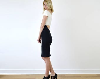 Bardot Bodycon Strapless Pencil Dress with Scoop Back. Cut Out Tube Dress with Off Shoulder Neckline in Monochrome
