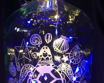 Sea Turtle, Glass Etched Wine Bottle with Decorative Lights