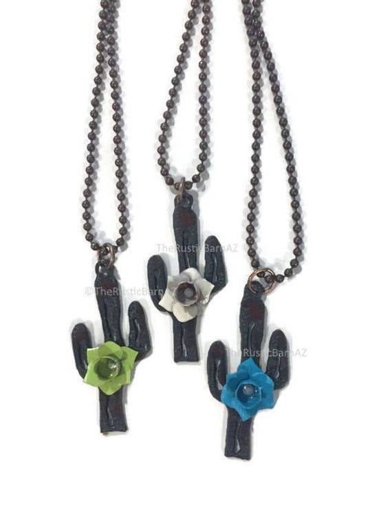 CACTUS with Painted FLOWER Necklace charm made of Rusted Metal Necklace