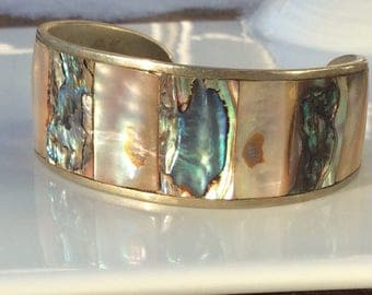 Vintage Mexican Abalone Shell and Silver Bracelet