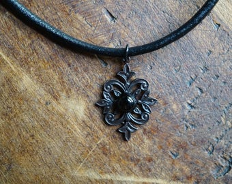 Black Obsidian Necklace - Boho Layering Necklace - Black Obsidian Choker - Black Choker
