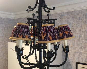 Vintage Faux Bamboo Chandelier with Ruched Ikat Shades