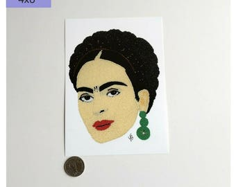 Frida Kahlo Art Print, Frida Wall Art Print, Artist Art Print, Frida Print, Frida Kahlo Portrait, Beadwork Art, Latina Art Print Portrait