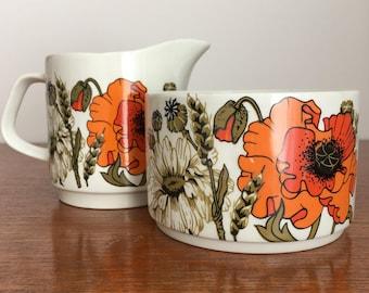 J & G Meakin Poppy pattern creamer and sugar bowl