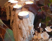 Center piece, Large Driftwood candle holder, Cabin decor, Rustic Cabin decor, beach wedding, beach decor, mantle piece
