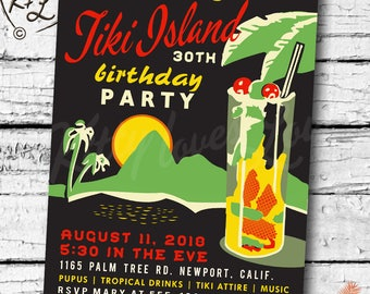 PRINTABLE Birthday INVITATION digital PDF Retro Hawaiian Luau Bridal Wedding Engagement Party Tiki Bachelorette invite cocktail vintage