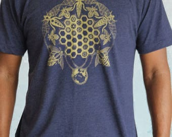 Men's Bee Keeper Tee - Gold screen print on soft shirts. Geometric Honeycomb hexagon hive. Sacred Geometry. Bee synergy shirt. Bee gift.