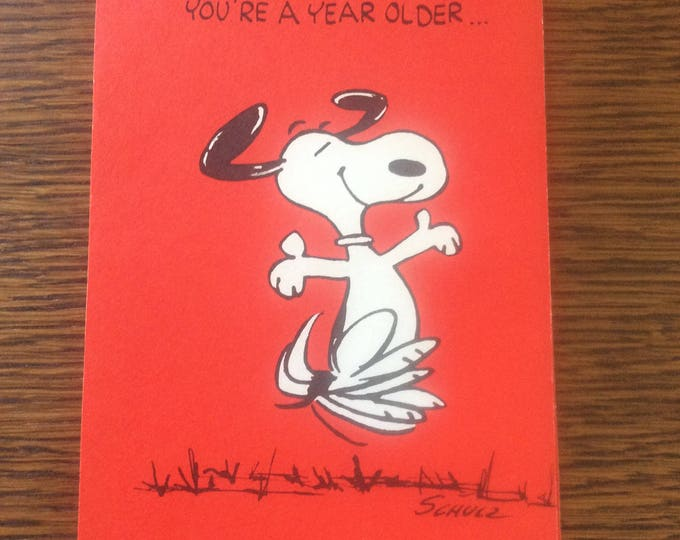 Vintage Snoopy birthday card, vintage birthday featuring Peanuts character Snoopy, Charles M Schulz birthday card, cartoon birthday card