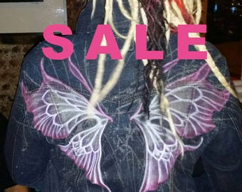SALE Fairy Wings woman's denim jacket. Hand painted, bleached