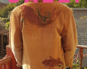 SALE  Hand painted, brown, suede mans jacket Koi