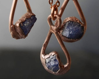 raw tanzanite necklace, rough crystal pendant, gift for mom, bohemian necklace, copper electroforming jewelry
