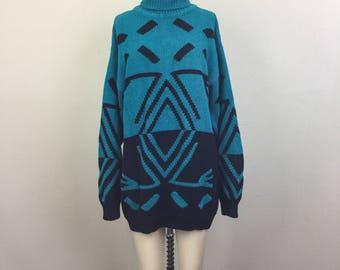 Vintage 90s Teal and Black New Wave TRIBAL Turtleneck Cotton Oversize Sweater Mini Dress