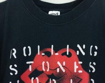 Vintage ROLLING STONES Concert Tour Tee Black Rock T-shirt M