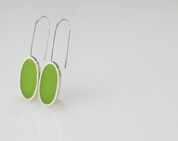 spring green oblong earrings - resin epoxy - sterling silver - art jewelry - minimalist - modern - contemporary - handmade