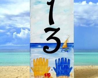 Vertical beach house numbers, Vertical door sign, Nautical, Vertical ocean address sign, Boat number sign, Mailbox, housewarming gift
