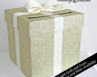 Light Gold Glittered and Ivory Ribbon Wedding Card Box with Bow- Choose Your Size and Colors