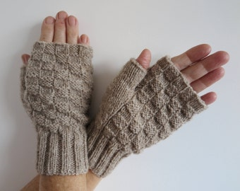 Knitting Kit for Fingerless Mittens - 2 styles - using 4ply 100% Pure New Natural Wool
