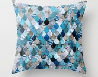 Mermaid Cushions - Printed Throw Pillow - Mermaid Cushion - plush indoor pillow available in four sizes.
