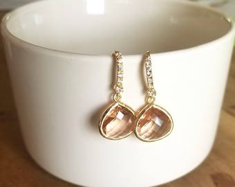 Peach Faceted Glass Gold plated Drop Earrings with Crystals