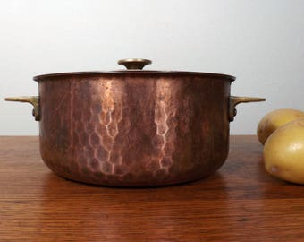 Copper  Pan, Pot or Casserole with Lid ~ Hammered ~ Sigg - Switzerland ~ Stainless Steel Lined ~ Brass Handles ~ Covered Copper Pot